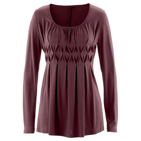 Women's Wild Solid Color Wrinkle Plus Size Long Sleeve Pullover T-shirt - FIREBRICK 2XL