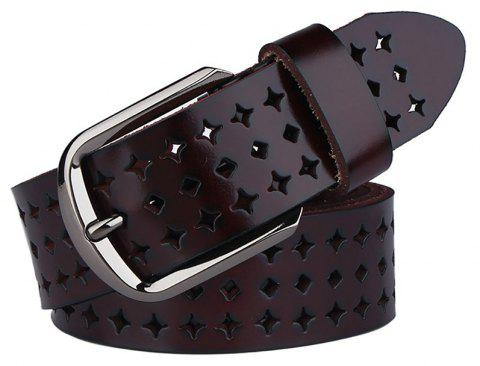 COWATHER Women Fashion Casual Leather Wild Pin Buckle Belt - DEEP COFFEE 110CM