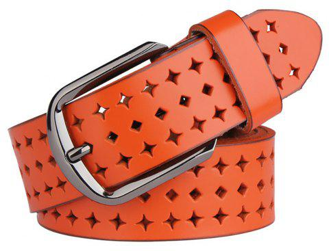 COWATHER Women Fashion Casual Leather Wild Pin Buckle Belt - ORANGE 130CM