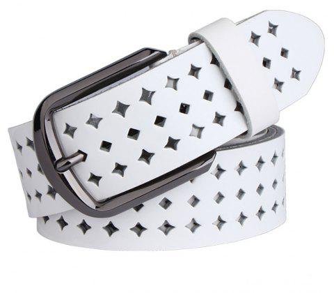 COWATHER Women Fashion Casual Leather Wild Pin Buckle Belt - WHITE 100CM