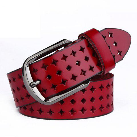 COWATHER Women Fashion Casual Leather Wild Pin Buckle Belt - RED 110CM