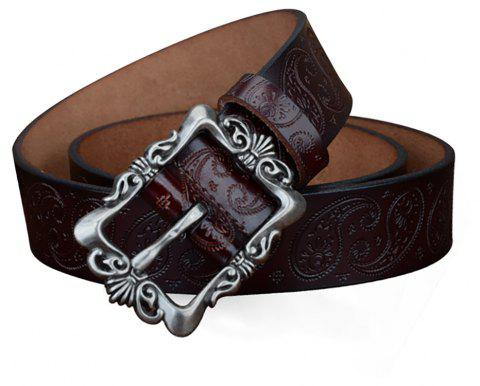COWATHER XF022 Women's Casual Fashion Wild Leather Pin Buckle Belt - COFFEE 125CM