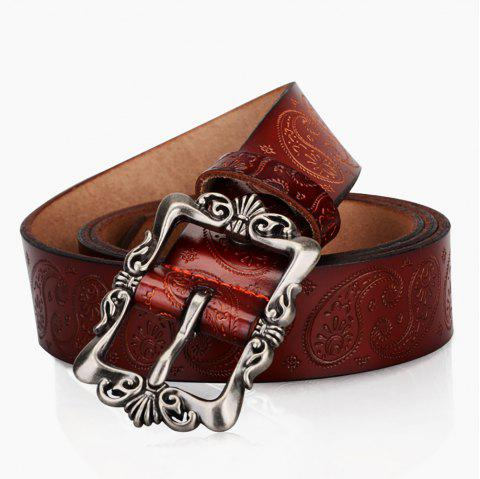 COWATHER XF022 Women's Casual Fashion Wild Leather Pin Buckle Belt - CHESTNUT RED 120CM