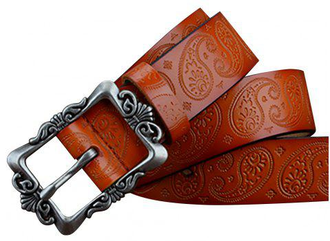 COWATHER XF022 Women's Casual Fashion Wild Leather Pin Buckle Belt - BROWN 110CM