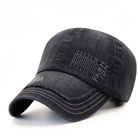 Cowboy Washed Embroidered Letters Sunscreen Cotton Outdoor Baseball Cap - BLACK