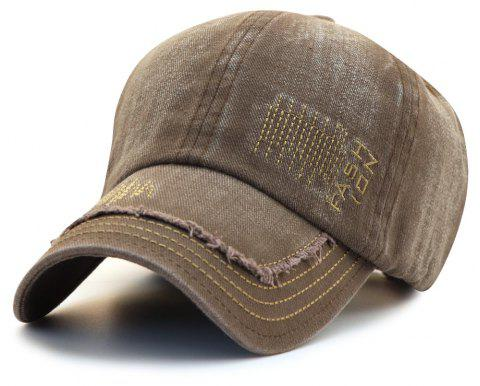 Cowboy Washed Embroidered Letters Sunscreen Cotton Outdoor Baseball Cap - COFFEE