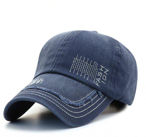 Cowboy Washed Embroidered Letters Sunscreen Cotton Outdoor Baseball Cap - BLUE