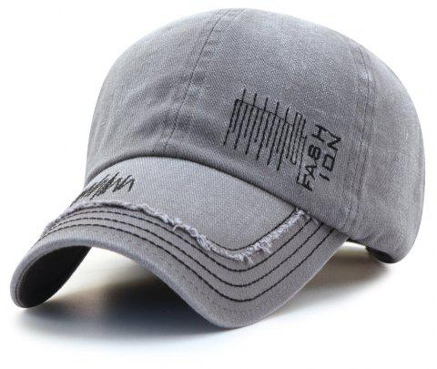 Cowboy Washed Embroidered Letters Sunscreen Cotton Outdoor Baseball Cap - GRAY