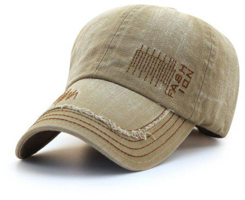 Cowboy Washed Embroidered Letters Sunscreen Cotton Outdoor Baseball Cap - BEIGE