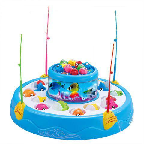 Double Electric Rotating Music Lights Fishing Toy - CRYSTAL BLUE