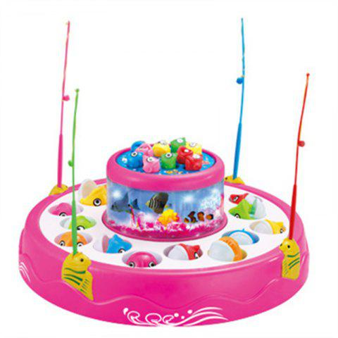 Double Electric Rotating Music Lights Fishing Toy - PINK