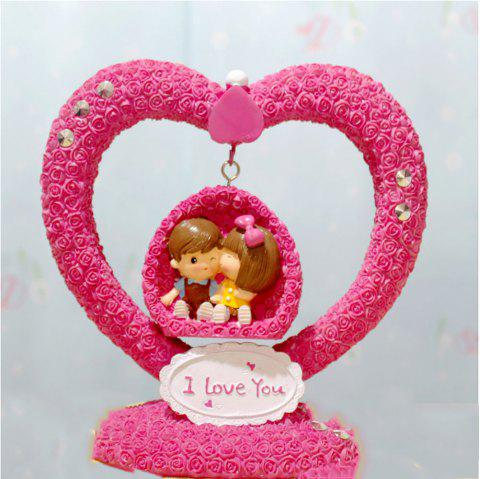 Heart-Shaped Rose Couple Swaying Home Decor - multicolor 19.5*9*19CM