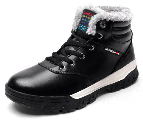 Men'S Plus Cotton Non-Slip Warm Snow Boots - BLACK EU 40