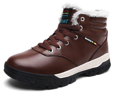 Men'S Plus Cotton Non-Slip Warm Snow Boots - DEEP COFFEE EU 47