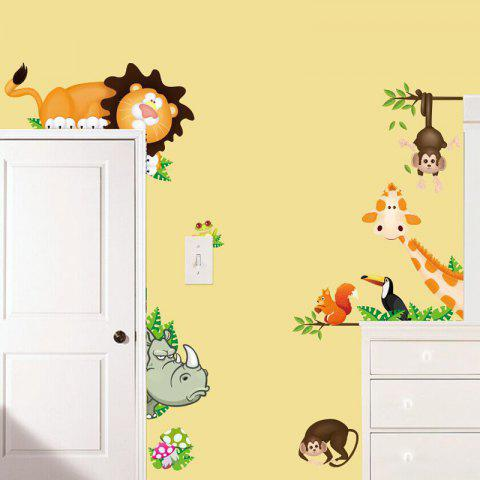 Cute Animals Removable PVC Wall Sticker - multicolor