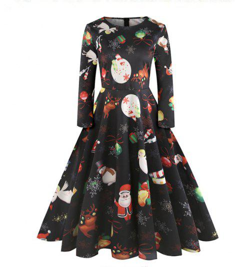 Christmas Style Printed Dress - BLACK XL