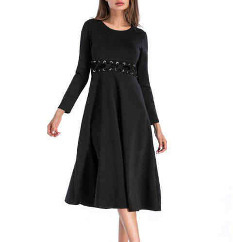 A Solid Long-Sleeved Dress - BLACK L