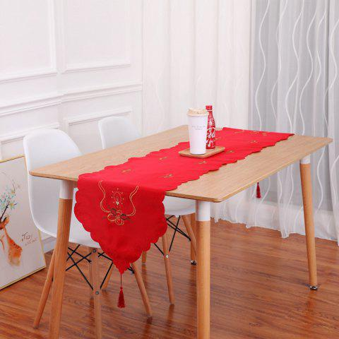 Embroidery Table Runner Christmas Hollow Flag Ornaments Dining Table Dust Cover - RED 40*175CM