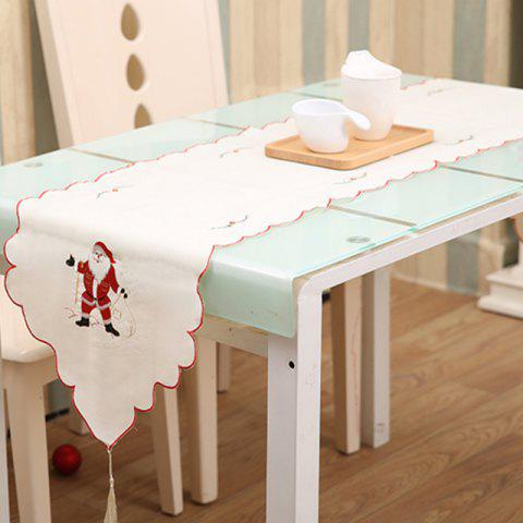 Embroidery Table Runner Christmas Hollow Flag Ornaments Dining Table Dust Cover - WHITE 40*175CM