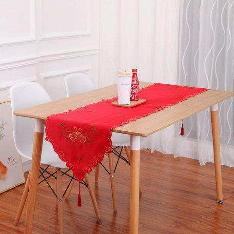Embroidery Table Runner Christmas Hollow Flag Ornaments Dining Table Dust Cover - RUBY RED 40*175CM