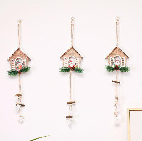 House Shaped Christmas Tree Hanging Pendant Wooden Small Hanging - WOOD 3PCS