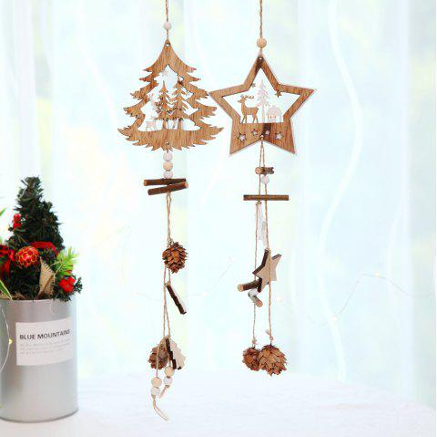wooden christmas ornaments wood star pendants pine cone wood 2pcs