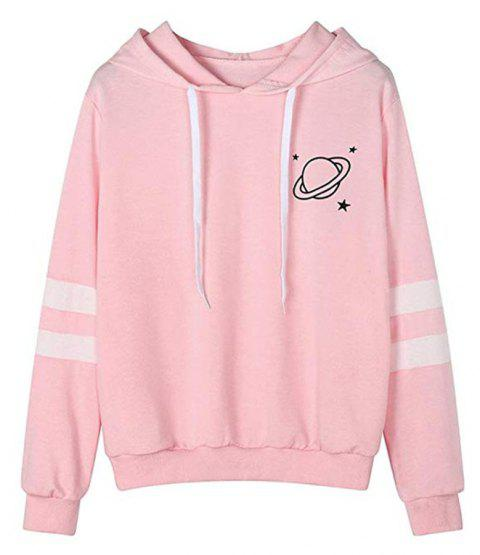 Women Long Sleeve Graphic Planet Print Casual Pullover Crop Sweatshirt - PIG PINK L