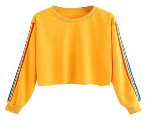 Rainbow Color Block Striped Crop Top Sweatshirt - GOLDEN BROWN L