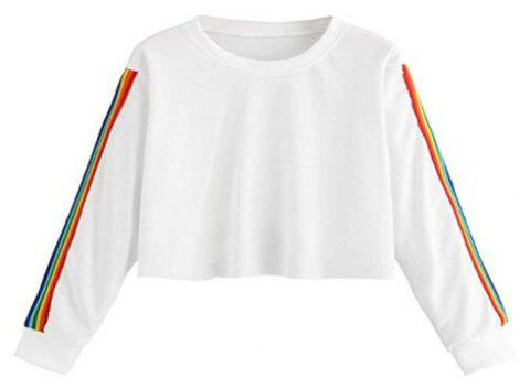 Rainbow Color Block Striped Crop Top Sweatshirt - WHITE L