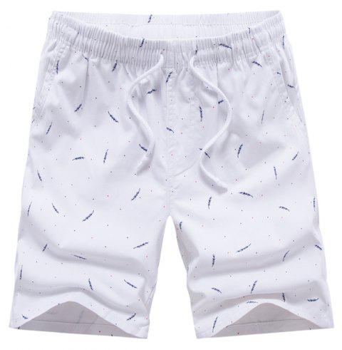 Men Summer Pure Cotton Casual Pants Multicolor Beach Shorts - WHITE 38