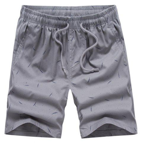 Men Summer Pure Cotton Casual Pants Multicolor Beach Shorts - GRAY 34