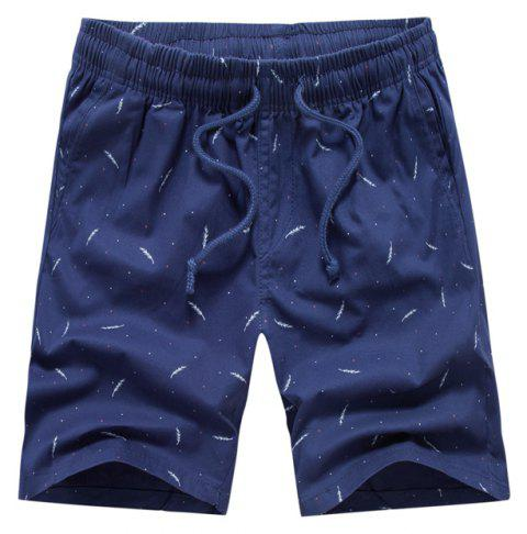 Men Summer Pure Cotton Casual Pants Multicolor Beach Shorts - BLUE 40