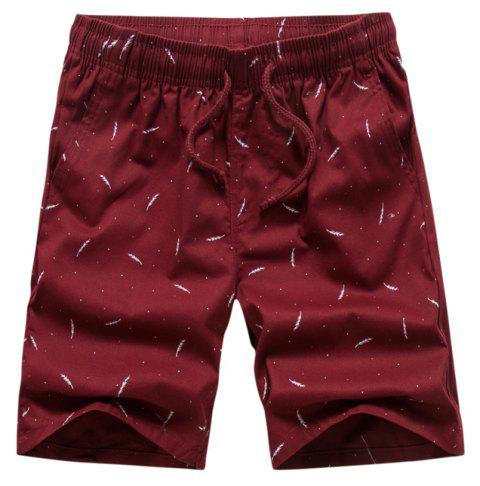 Men Summer Pure Cotton Casual Pants Multicolor Beach Shorts - RED WINE 32