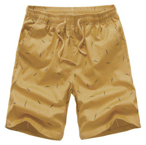 Men Summer Pure Cotton Casual Pants Multicolor Beach Shorts - GOLDENROD 32