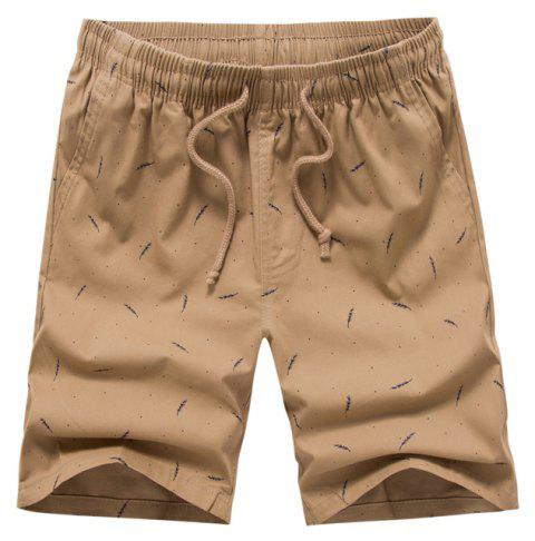 Men Summer Pure Cotton Casual Pants Multicolor Beach Shorts - TAN 36