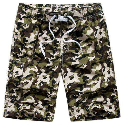 Summer Couples Loose Camouflage Casual Pants Quick Dry Shorts - multicolor A XL