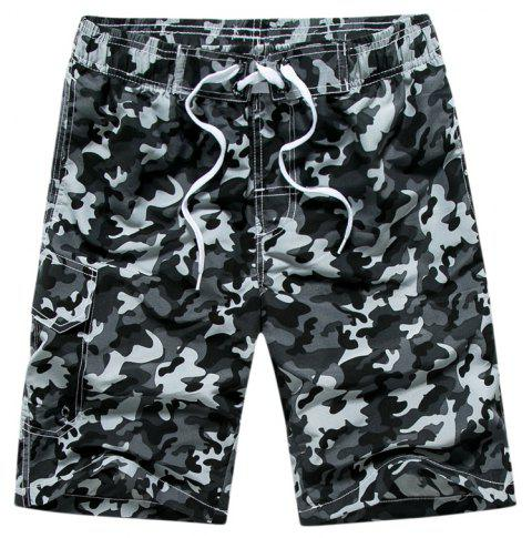 Summer Couples Loose Camouflage Casual Pants Quick Dry Shorts - multicolor C 2XL