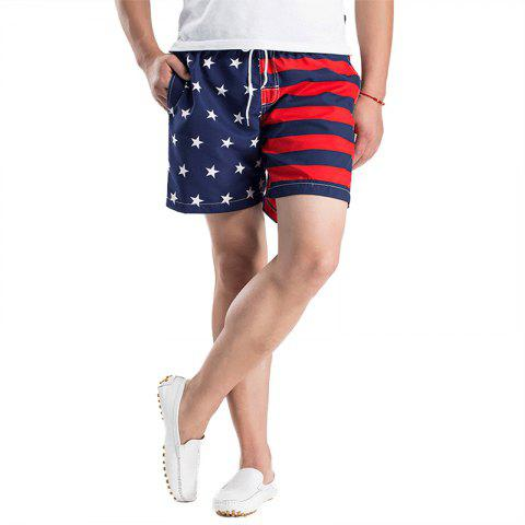 Summer Outdoor Men's Striped Quick Dry Board Surf Beach Shorts - multicolor B M