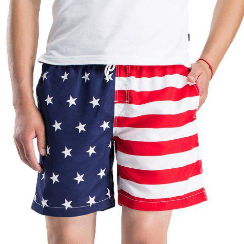 Summer Outdoor Men's Striped Quick Dry Board Surf Beach Shorts - multicolor A XL