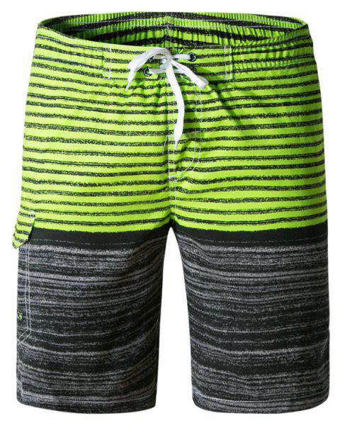 Beach Shorts Men Striped Quick Dry Summer Swim Surf Boardshorts - multicolor F L