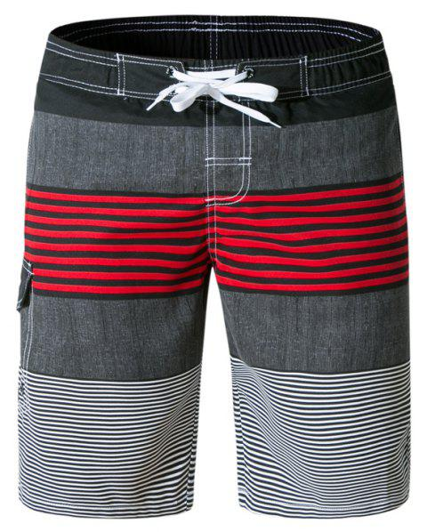 Beach Shorts Men Striped Quick Dry Summer Swim Surf Boardshorts - multicolor C L