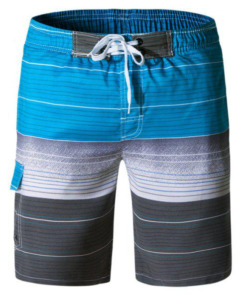 Beach Shorts Men Striped Quick Dry Summer Swim Surf Boardshorts - multicolor A XL