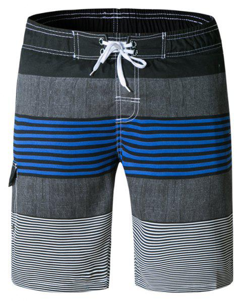 Beach Shorts Men Striped Quick Dry Summer Swim Surf Boardshorts - multicolor D 2XL