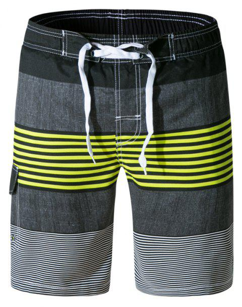 Beach Shorts Men Striped Quick Dry Summer Swim Surf Boardshorts - multicolor B XL