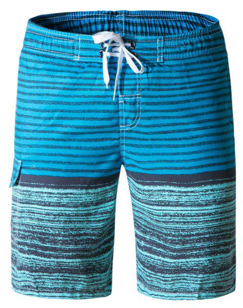 Beach Shorts Men Striped Quick Dry Summer Swim Surf Boardshorts - multicolor G L