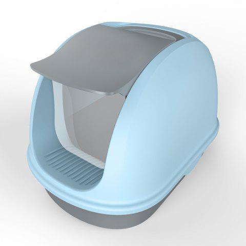 Enclosed plastic pet toilet cat litter box - SEA BLUE MSP-0007