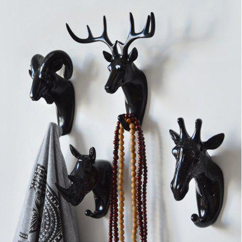 Decorate the coat hook hanging hook wall act the role ofing resin handicraft - BLACK 6PCS