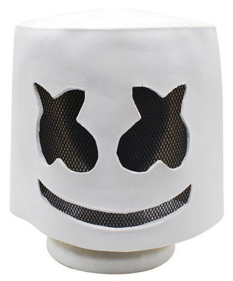 YEDUO Halloween Soft Latex DJ Marshmello Mask Cosplay Costume Accessory - WHITE