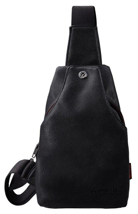 DouguYan PU Cuir Petit Sling Cross Body Chest Pack Déséquilibre Daypacks G00215 - Noir