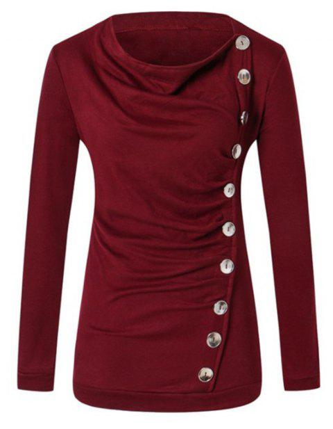 Long Sleeved Round Neck T-shirt - RED WINE 1XL